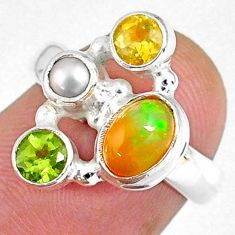 925 silver 3.83cts natural ethiopian opal oval peridot ring size 5.5 r59224