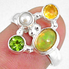 925 silver 3.83cts natural ethiopian opal oval peridot ring size 6.5 r59229