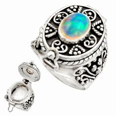 925 silver 2.92cts natural ethiopian opal oval poison box ring size 7.5 r26659