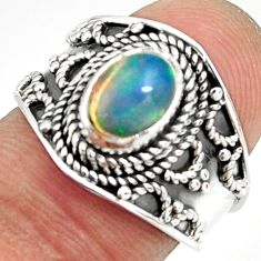 925 silver 2.01cts natural ethiopian opal oval solitaire ring size 6.5 r24997