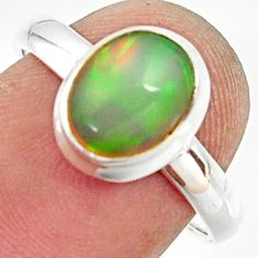 925 silver 3.09cts natural ethiopian opal oval solitaire ring size 7.5 r35244