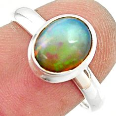 925 silver 2.93cts natural ethiopian opal oval solitaire ring size 7.5 r35248