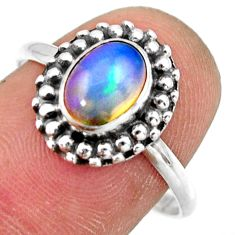 925 silver 2.32cts natural ethiopian opal oval solitaire ring size 8.5 r41400