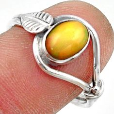925 silver 2.30cts natural ethiopian opal oval solitaire ring size 8.5 r41535