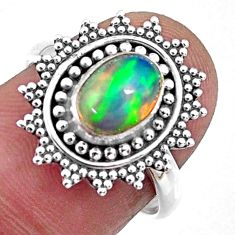 925 silver 2.08cts natural ethiopian opal oval solitaire ring size 6.5 r57484