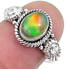 925 silver 1.96cts natural ethiopian opal oval solitaire ring size 7.5 r57489