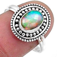 925 silver 1.96cts natural ethiopian opal oval solitaire ring size 8.5 r57493