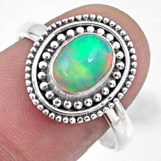 925 silver 1.96cts natural ethiopian opal oval solitaire ring size 8.5 r57496