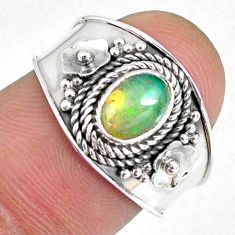 925 silver 1.45cts natural ethiopian opal oval solitaire ring size 7.5 r59019