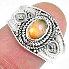 925 silver 1.54cts natural ethiopian opal oval solitaire ring size 7.5 r59072