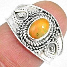 925 silver 1.56cts natural ethiopian opal oval solitaire ring size 7.5 r59077