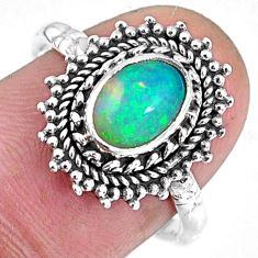 925 silver 2.05cts natural ethiopian opal oval solitaire ring size 7.5 r59088