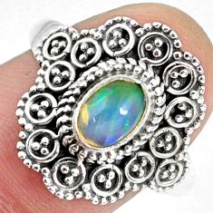 925 silver 1.56cts natural ethiopian opal oval solitaire ring size 8.5 r59104