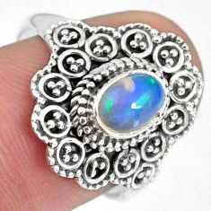 925 silver 1.55cts natural ethiopian opal oval solitaire ring size 7.5 r59109
