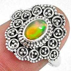 925 silver 1.56cts natural ethiopian opal oval solitaire ring size 7.5 r59113