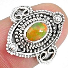 925 silver 1.54cts natural ethiopian opal oval solitaire ring size 7.5 r59144