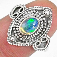 925 silver 1.55cts natural ethiopian opal oval solitaire ring size 7.5 r59148