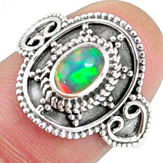 925 silver 1.54cts natural ethiopian opal oval solitaire ring size 7.5 r59164