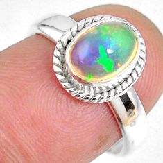 925 silver 1.98cts natural ethiopian opal oval solitaire ring size 6.5 r59311