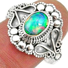 925 silver 2.02cts natural ethiopian opal oval solitaire ring size 9.5 r61153