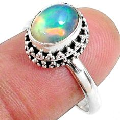 925 silver 2.95cts natural ethiopian opal oval solitaire ring size 8.5 r64518