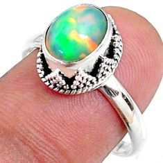 925 silver 2.90cts natural ethiopian opal oval solitaire ring size 8.5 r64539