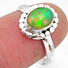 925 silver 2.10cts natural ethiopian opal oval solitaire ring size 7.5 r64561