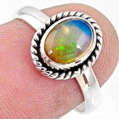 925 silver 2.10cts natural ethiopian opal oval solitaire ring size 6.5 r64598