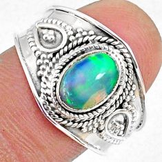 925 silver 2.17cts natural ethiopian opal oval solitaire ring size 8.5 r69013