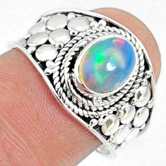 925 silver 2.17cts natural ethiopian opal oval solitaire ring size 7.5 r69040