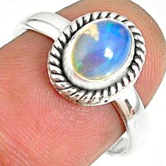 925 silver 2.01cts natural ethiopian opal oval solitaire ring size 7.5 r75309