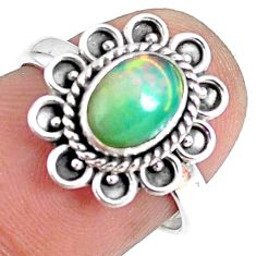 925 silver 2.08cts natural ethiopian opal oval solitaire ring size 6.5 r75383