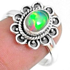 925 silver 1.96cts natural ethiopian opal oval solitaire ring size 8.5 r75395