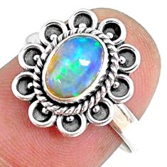 925 silver 2.05cts natural ethiopian opal oval solitaire ring size 7.5 r75398