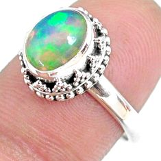925 silver 2.72cts natural ethiopian opal oval solitaire ring size 7.5 r75414