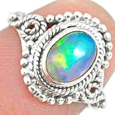 925 silver 2.17cts natural ethiopian opal oval solitaire ring size 5.5 r82338