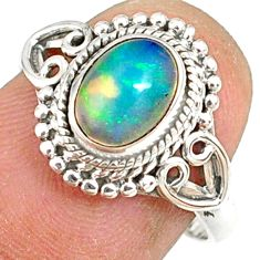 925 silver 2.14cts natural ethiopian opal oval solitaire ring size 7.5 r82387