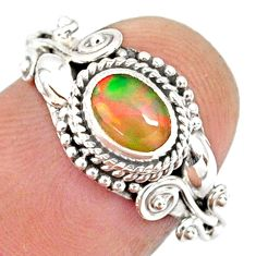 925 silver 1.47cts natural ethiopian opal oval solitaire ring size 7.5 r85473