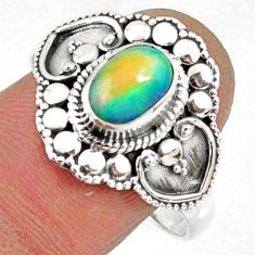 925 silver 2.12cts natural ethiopian opal oval solitaire ring size 10 r61143