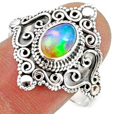 925 silver 2.13cts natural ethiopian opal oval solitaire ring size 10 r61155