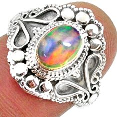 925 silver 2.02cts natural ethiopian opal oval solitaire ring size 7 r61147