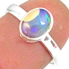925 silver 2.02cts natural ethiopian opal oval solitaire ring size 7 r83729