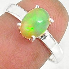 925 silver 2.25cts natural ethiopian opal oval solitaire ring size 7 r84020