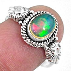 925 silver 1.94cts natural ethiopian opal oval solitaire ring size 8 r57486
