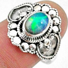 925 silver 2.14cts natural ethiopian opal oval solitaire ring size 8 r61157