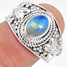 925 silver 2.11cts natural ethiopian opal oval solitaire ring size 9 r69008