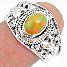 925 silver 2.17cts natural ethiopian opal oval solitaire ring size 9 r69024