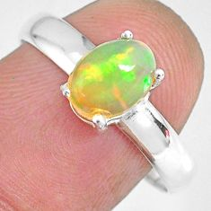 925 silver 2.25cts natural ethiopian opal oval solitaire ring size 9 r83999