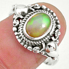 925 silver 2.11cts natural ethiopian opal oval solitaire ring size 8.5 t2836