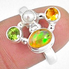 925 silver 3.83cts natural ethiopian opal pearl citrine ring size 8.5 r59196